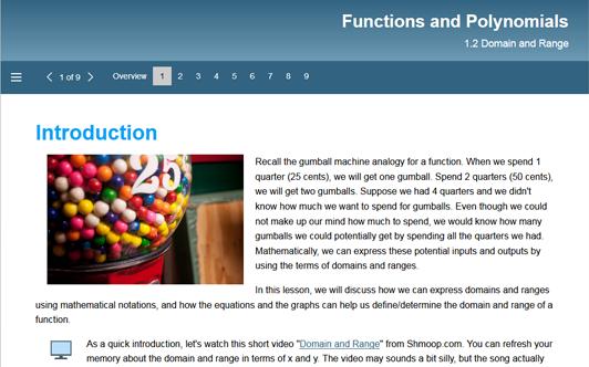 Functions-Polynomials: 1.2 Domain and Range – Michigan Virtual University