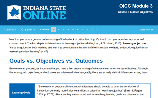 OICC Module 3: Course & Module Objectives – Indiana State University